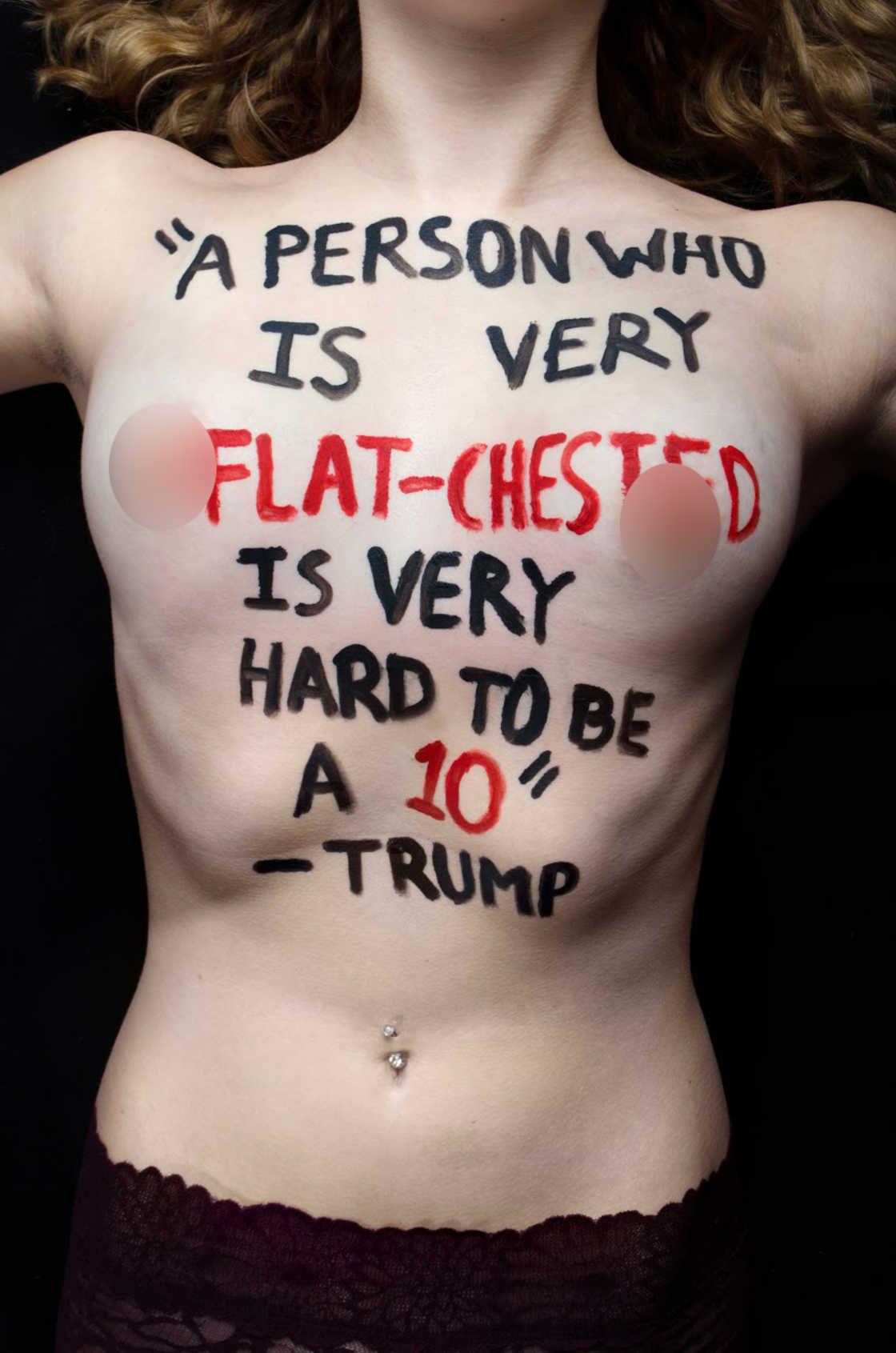 QUand une Photographe de 18 ans inscrit des citations de Donald Trump sur le corps des femmes